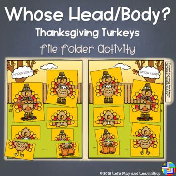 Whose Head/Body? Thanksgiving Turkeys Folder Game