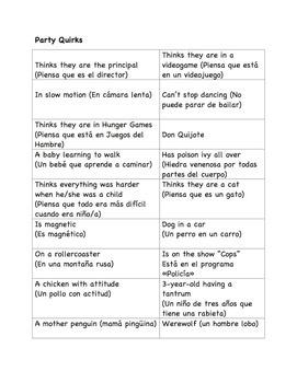 """Whose Line is it Anyway"" (¿De quién es esta frase?) Spanish Class Game"