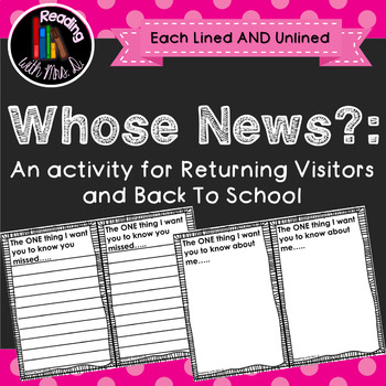 Whose News? An Activity for Returning Class Visitors and Back to School!