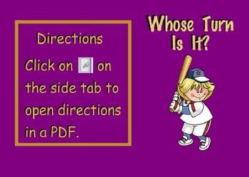 Whose Turn Is It? Baseball Theme Overlay Classroom Management (SMARTBoard)