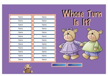 Whose Turn Is It? Bears Theme Overlays Classroom Management (SMARTBoard)