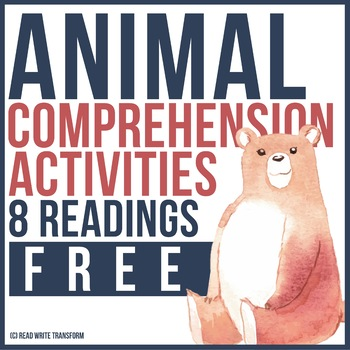 8 FREE Animal Reading Comprehension with Activities and Games for Grades 1-3
