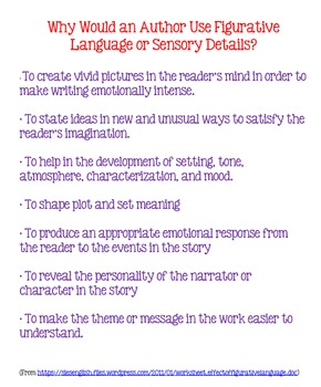 Why Authors Use Figurative Language & Sensory Details