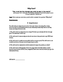 Why Care Essay assignment