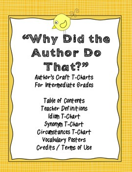 Why Did the Author Do That? Author's Craft work