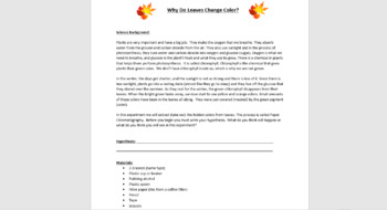 Why Do Leaves Change Color in the Fall? - Lab