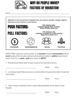 Why Do People Move? Push and Pull Factors of Migration Worksheet Scenarios