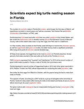 Why Do Turtles Nest On The Shore? W.1.7, SL.1.1b, L.1.1, RF.1.1a, RI.1.2, RL.1.4