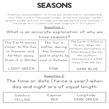 Why Do We Have Seasons: Color-By-Numbers Activity