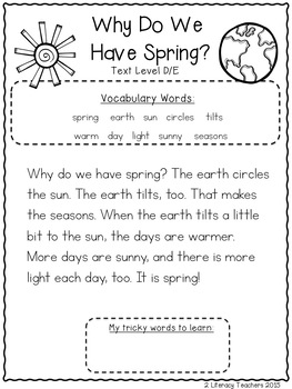 Why Do We Have Spring: CCSS Aligned Leveled Reading Passages Levels A-I