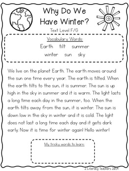 Why Do We Have Winter?: CCSS Aligned Leveled Reading Passages and Activities