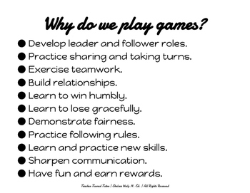 Why Do We Play Games? Anchor Chart