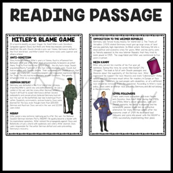 Why Hitler Hated the Jews Reading Comprehension Worksheet, Holocaust, WWII
