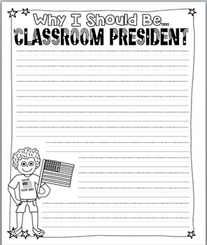 FREEBIE! Why I Should Be Class President Writing Paper