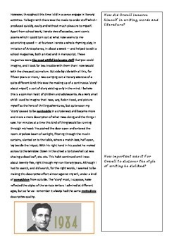 Why I write essay by George Orwel with text and response journal