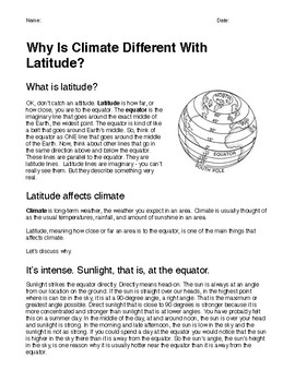 Why Is Climate Different with Latitude?