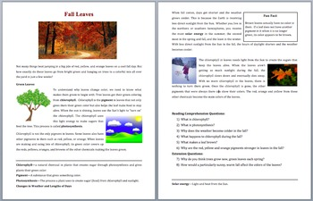 Why Leaves Change Color In The Fall - Scientific Reading – Grades 5-7