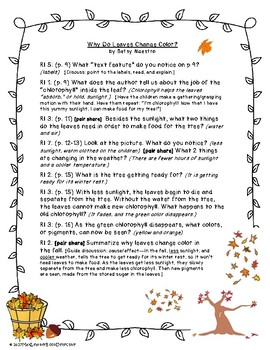 Why Leaves Change Color: Text-Dependent Questions & Worksheet