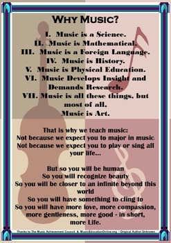 Arts - Why Music? A lovely display poster for your Music C