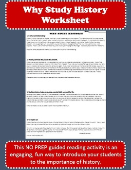 Why Study History? - Guided Reading Activity - Great Introduction to History!