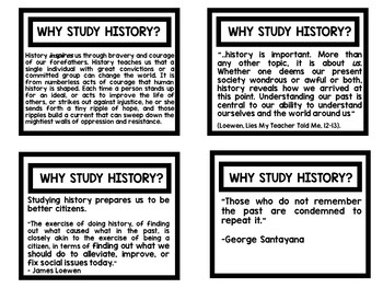 Why Study History (Task Cards, Quotes, Definitions)
