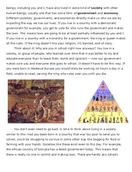 Why Study World History? -- Short Reading and Questions