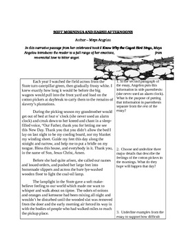Why The Caged Bird Sings Close Reading Assessment - Maya Angelou