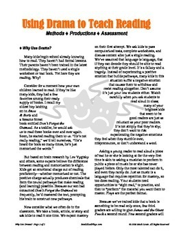 Why Use Drama? Reader's Theater Tips, Strategies, & Teacher's Guide