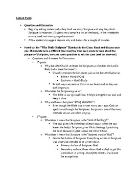 Study of Scripture Lesson Plans, Discussion Q&A and Student Handout