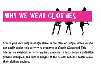 Why We Wear Clothes Interactive Notebook for Google Classroom