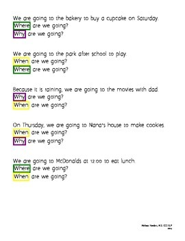 Why? Where? When?: Another simple question worksheet