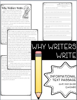 Why Writers Write: Informational Reading with Text Based Questions