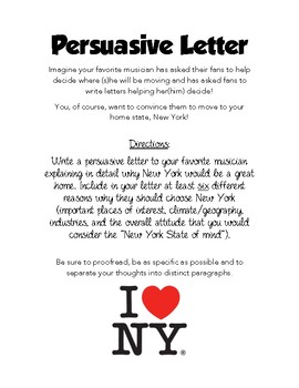 Why You Should Move to NY Persuasive Letter