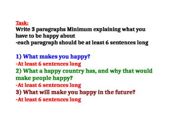 Why are you Happy? writing assignment