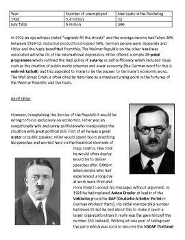 Why did Hitler rise to power in Germany by 1933? 11-page lesson pack