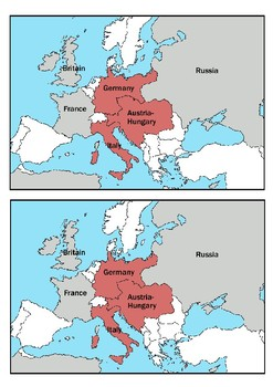 Why did World War One Start (Causes) Word Search with Map