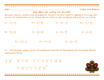 Why didn't the turkey eat dessert? - Dividing Mixed Numbers
