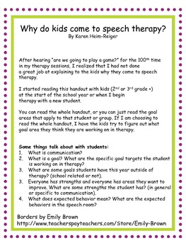 Why do kids come to speech therapy? Handout and discussion questions