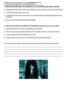 Why do we enjoy fear? Halloween Activity for C1-C2 English Learners