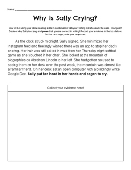 Why is Sally Crying: An Inference and Writing Activity