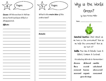 Why is the World Green? Trifold - Open Court 5th Grade Unit 4 Lesson 4