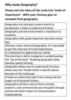 Why study Geography Card Sort