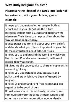Why study Religious Studies Card Sort Activity