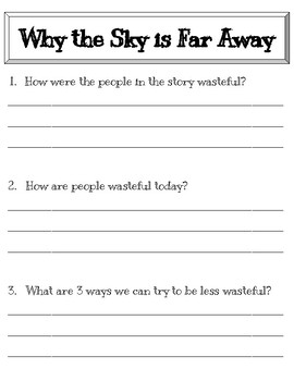 Why the Sky is Far Away Worksheet