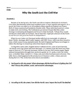 Why the South Lost the Civil War DBQ Inquiry