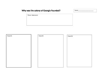 """""""Why was the colony of Georgia Founded?"""" Graphic Organizer"""