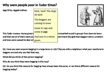Why were people poor in Tudor times Starter Activity
