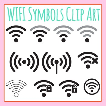 WiFi Symbols Clip Art - Network Strength Icons Clip Art for Commercial Use
