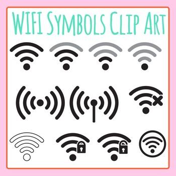 WiFi Symbols Clip Art - Network Strength Icons Clip Art fo
