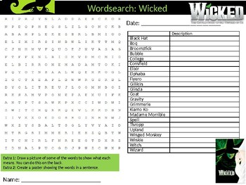 Wicked Musical Wordsearch Puzzle Sheet Keywords Music Musicals
